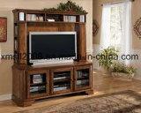 Armário de TV de madeira sólida moderno com Showcase lateral