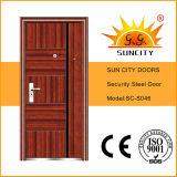 Porta de aço do metal do projeto da porta da grade para a porta barata do ferro feito do apartamento (SC-S046)