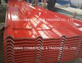 Hoja acanalada prepintada galvanizada sumergida caliente galvanizada del material para techos de la hoja de acero acanalada del material para techos