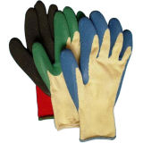 Перчатка работы фермы безопасности перчаток латекса хлопка Knited покрытая