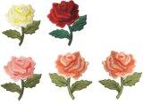 """Ferro inteiramente florescido de Rosa (da flor feita sob encomenda e original dos jardins da mola de 2 1/4 """" de polegada por 2 1/2 """") único na correção de programa bordada do Applique"""