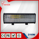 216W IP68 de Vierling Row LED Light Bar van Offroad
