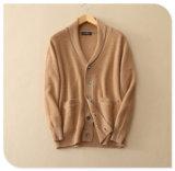 Cardigan de tricotage du cachemire pur des hommes pour la couche épaisse de chandail de l'hiver avec le collet Breasted simple de la poche V de garniture intérieure