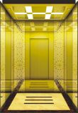 Elevador do passageiro do quarto da máquina com o carro Titanium do elevador do aço inoxidável do espelho
