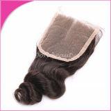 Laço direto Clsoure do cabelo do Virgin da venda por atacado da fábrica