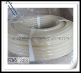 Mangueira trançada de alta pressão do silicone da cor desobstruída transparente flexível do produto comestível