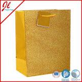 Purpurrote Glister gedruckte Papierträger-Beutel mit Marke