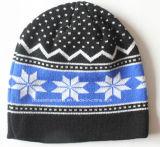Logotipo feito-à-medida neve acrílica dos esportes de inverno da malha do jacquard Beanie diário de lãs