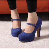 Chaussures simples de talon brut élevé imperméable à l'eau de plate-forme de boucle de suède de femmes