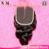 "Cabelo indiano 4 x do "" fechamento frouxo do laço da manufatura da onda do cabelo Virgin 4"