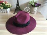 Lanas de la manera de fieltro para hombre del sombrero de vaquero con muñequera de cuero