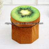 ¡Venta caliente! Taburete plegable redondo del almacenaje del diseño de la fruta de kiwi