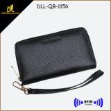 RFID che ostruisce signora di cuoio molle funzionale Wrist Wallet con l'allegato della chiusura lampo (il nero)