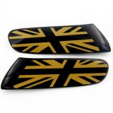 Nagelneue ABS materieller geschützter schwarzer Farben-Goldjack-Art-Abwechslungs-Seiten-Lampen-UVdeckel für Mini Cooper F55 F56 (2PCS/Set)