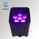 セリウムのXmasの休日のパーティのための6LEDs Rgbawの紫外線カラーの公認の再充電可能なリチウム電池のWiFi APP無線LEDの同価ライト
