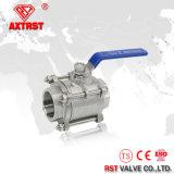 Шариковый клапан CF8 CF8m 3PC продетый нитку нержавеющей сталью (Q11F)