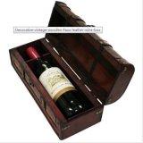 Boîte en bois à vin de cuir de Faux de cru décoratif