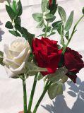 가정 결혼식 훈장을%s 실제적인 접촉 실크 인공 꽃이 가짜 로즈에 의하여 꽃이 핀다
