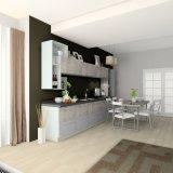 Gabinetes de cozinha inteiros do jogo da laca UV da impressão do metal do projeto moderno