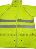 Куртки безопасности видимости PU дневного желтого взрослого одеяние 100% водоустойчивой высокой защитное
