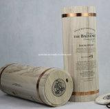 Caixa de madeira redonda do vinho do único frasco feito sob encomenda com aros do ouro