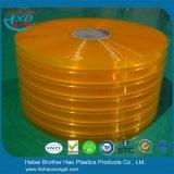 De flexibele Zachte Super Duidelijke Gele Dubbele Geribbelde Strook van het Gordijn van de Deur van pvc van de Dikte van 1mm