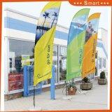 Publicidad de la bandera del indicador de playa, bandera de la pluma, indicador de la lágrima