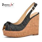 2017 sandali casuali del cuneo del sughero delle donne degli alti talloni della signora Denim