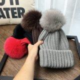 Chapéu do Snapback do Knit das Pai-Crianças com o Pompom grande da pele de Fox