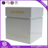 Caixa branca de empacotamento do cosmético do presente do punho do logotipo feito sob encomenda