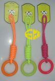 Веревочка хлопка с игрушкой Chew любимчика TPR резиновый