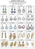 Le bleu de bijou de mode de qualité colore le bijou d'argent de boucle d'oreille de baisse de l'eau de cristal plaqué de rhodium (E6404)
