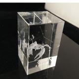 3D Kubus van het Kristal van de Laser Stevige Glas Gegraveerde voor Herinneringen