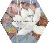 200*230m m sanos inyectaron el azulejo de suelo de cerámica del polígono de las esquinas del hexágono seises del diseño de la flor de loto