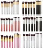 10 piezas de plata del cepillo del maquillaje de Kabuki sintético set Para Mujeres