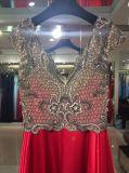 Красное платье вечера, мантия партии, платье выпускного вечера с шеей v