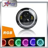최고 Bluetooth Control 천사 눈 달무리 변경 색깔에 의하여 7 인치 RGB LED 지프 논쟁자 헤드라이트를 냉각하십시오