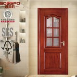 Puerta de madera de cristal interior del cuarto de baño con la pintura blanca (GSP3-015)