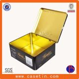 Коробка олова чая металла изготовленный на заказ печатание Cmyk прямоугольная с прикрепленной на петлях крышкой