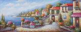 Zoll druckte Typen schönen Dorf-Pfad mit Fluss-Landschaft-Segeltuch-Druck-Modell Nr.: Hx-4-023