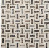 Azulejo de mosaico de mármol de piedra mezclado del metal del material de construcción (FYSM103)