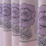 Cortina de indicador natural do escurecimento do jacquard do Peony do poliéster do estilo (33F0123)