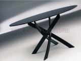 Pé de vidro redondo pequeno moderno do aço inoxidável de tabela de jantar (NK-DT272-1)