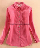 Rote Verdickung-Frauen-Hemd-Bluse
