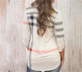Überprüftes Hemd der heißen verkaufenfrauen V-Stutzen (80004)