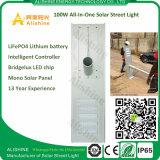 100W李イオン電池、情報処理機能をもったコントローラが付いている統合されたLEDの太陽通りの庭センサーライト