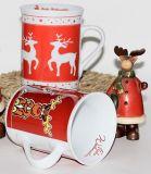 Tasse en céramique d'amour de Noël, tasse de café en céramique avec le couvercle