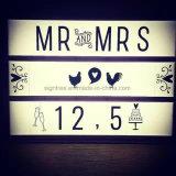 Caixa leve de DIY com letras
