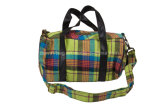 Checked Cotton Made Ladies Daily Weekender Travel Barrel Bag