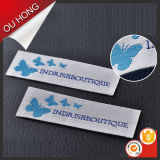 Escritura de la etiqueta tejida un cuello azul caliente más barato de la mariposa del diseño del precio para la capa